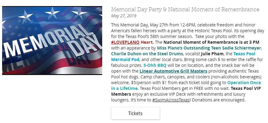 The Historic Texas Pool in Plano Memorial Day Party and National Day of Remeberance Plano