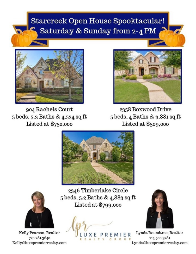 Flyer for Spooktactular Open House 904 Rachels Courth 2358 Boxwood Drive 2346 Timberlake Circle Allen Texas Kelly Pearson Lynda Roundhouse