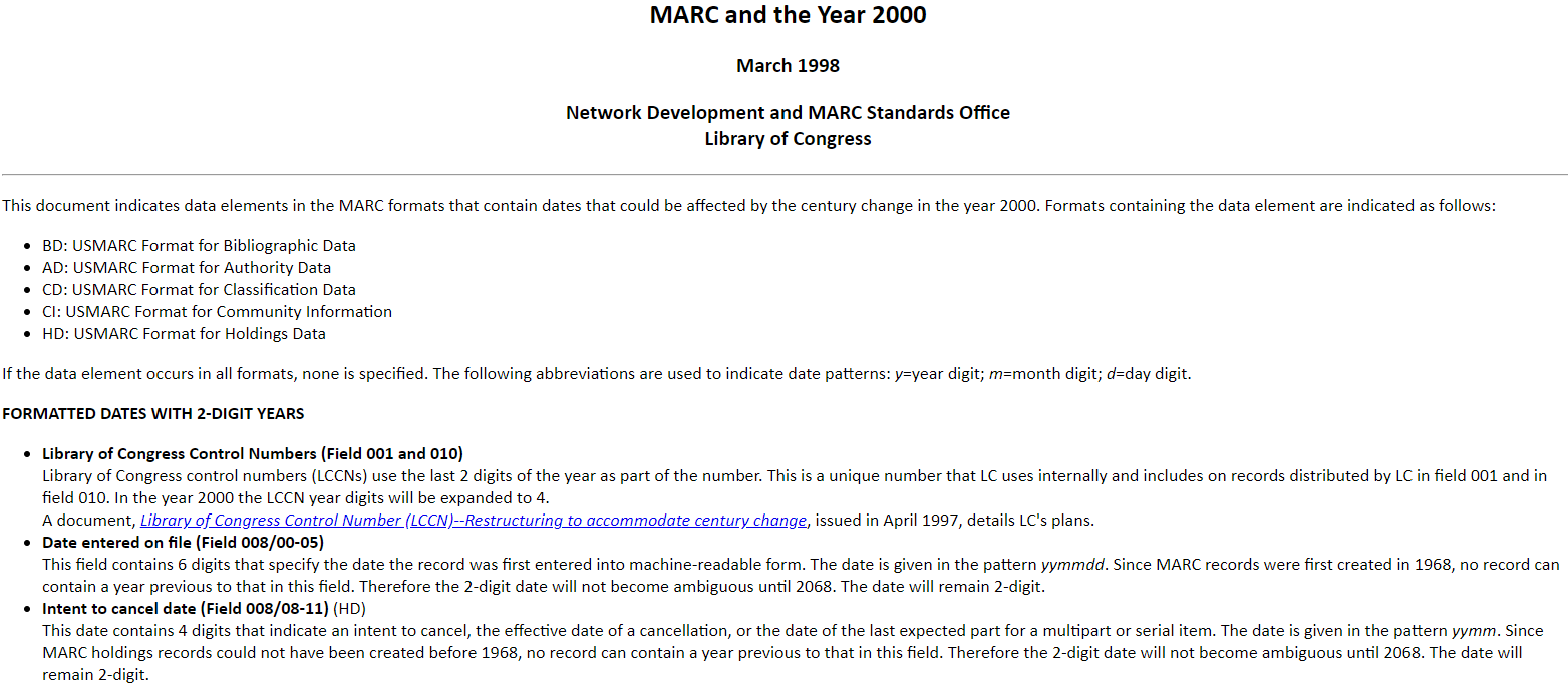 MARC and the Year 2000