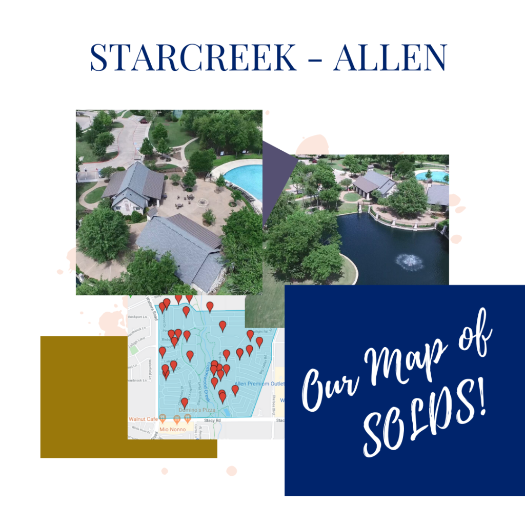 starcreek - allen SOLDS MAP StarCreek Allen Texas Kelly Pearson Lynda Roundtree 469 631 LUXE Keller Williams Buyer Sellers Real Estate